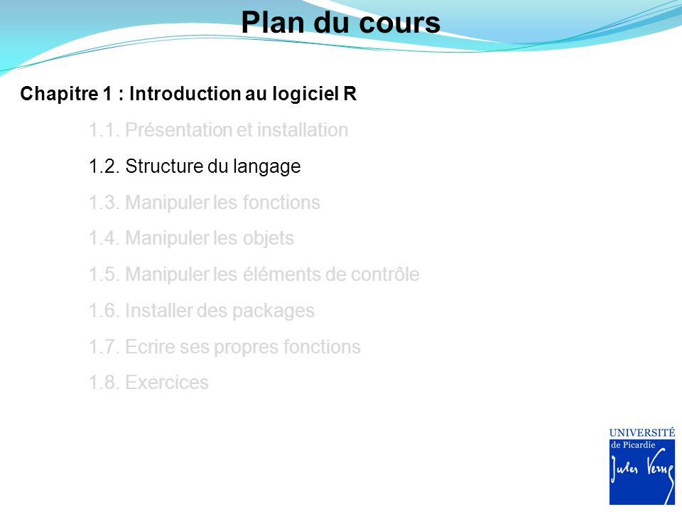 Plan du cours Chapitre 1 : Introduction au logiciel R 1.1. Présentation et installation 1.2. Structure du langage 1.3. Manipuler les fonctions 1.4. Ma