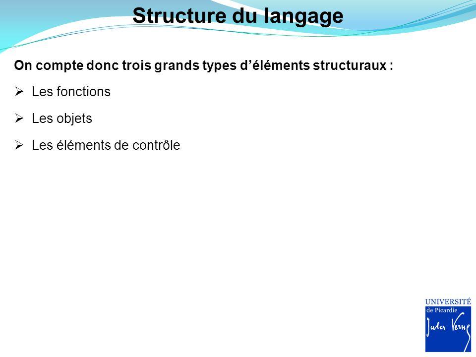 Structure du langage On compte donc trois grands types d'éléments structuraux :  Les fonctions  Les objets  Les éléments de contrôle