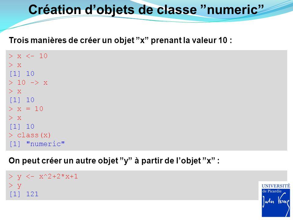 """> y <- x^2+2*x+1 > y [1] 121 On peut créer un autre objet """"y"""" à partir de l'objet """"x"""" : Création d'objets de classe """"numeric"""" Trois manières de créer"""