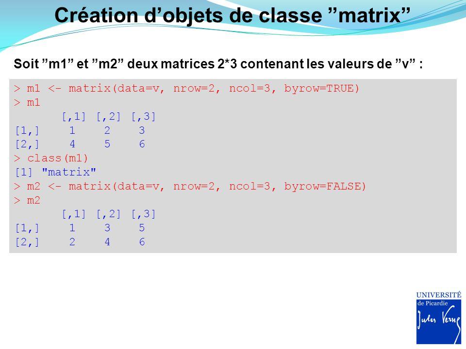 """Création d'objets de classe """"matrix"""" Soit """"m1"""" et """"m2"""" deux matrices 2*3 contenant les valeurs de """"v"""" : > m1 <- matrix(data=v, nrow=2, ncol=3, byrow=T"""