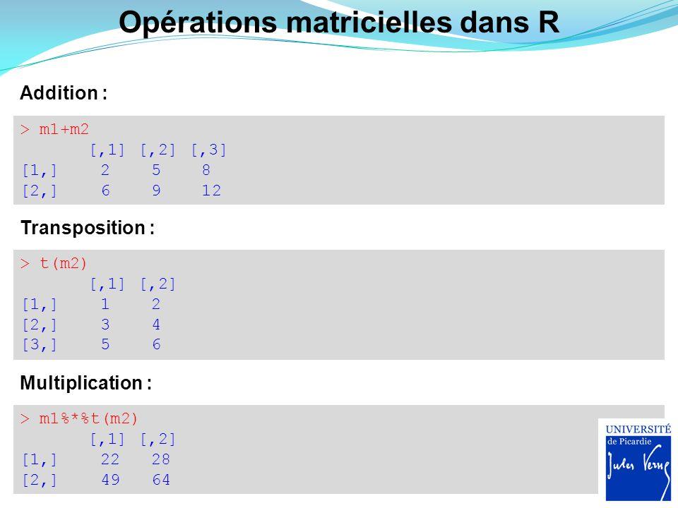 Opérations matricielles dans R Addition : > m1+m2 [,1] [,2] [,3] [1,] 2 5 8 [2,] 6 9 12 Transposition : > t(m2) [,1] [,2] [1,] 1 2 [2,] 3 4 [3,] 5 6 M