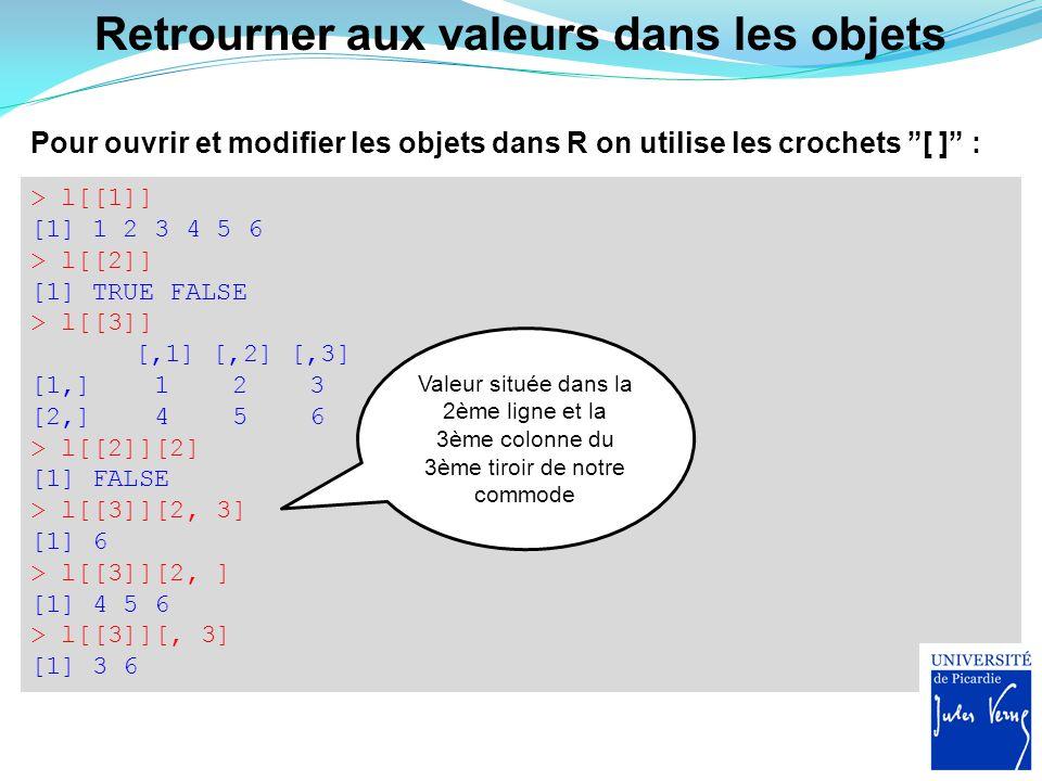 """Pour ouvrir et modifier les objets dans R on utilise les crochets """"[ ]"""" : > l[[1]] [1] 1 2 3 4 5 6 > l[[2]] [1] TRUE FALSE > l[[3]] [,1] [,2] [,3] [1,"""