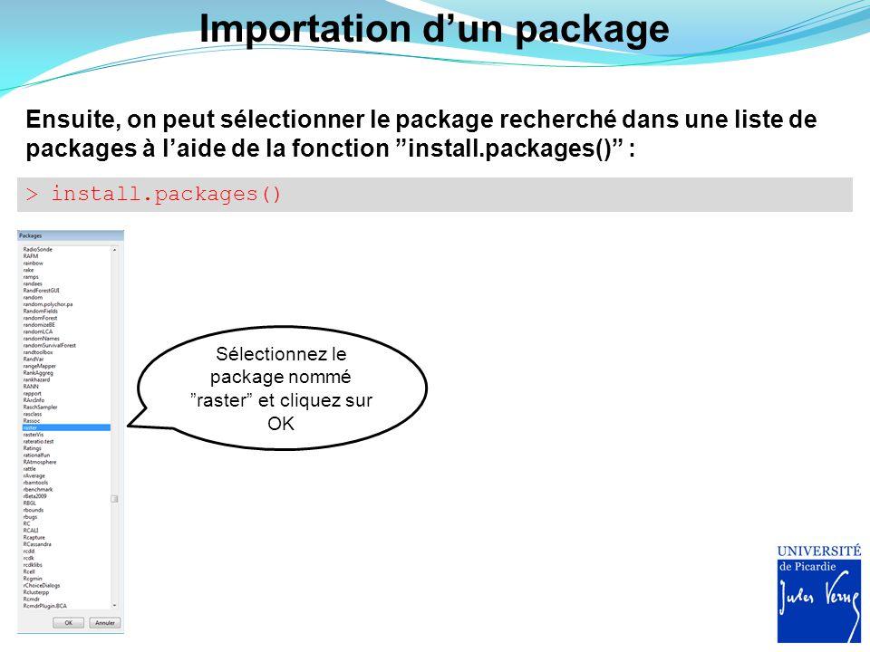 """Importation d'un package Ensuite, on peut sélectionner le package recherché dans une liste de packages à l'aide de la fonction """"install.packages()"""" :"""