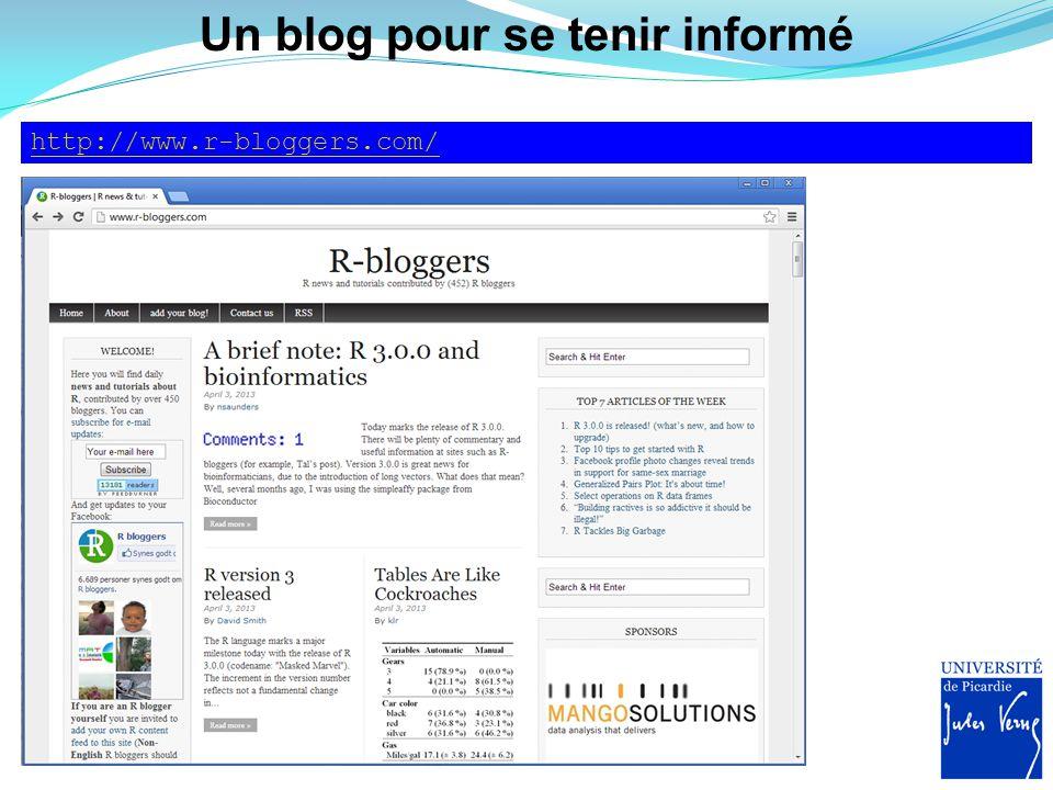 Un blog pour se tenir informé http://www.r-bloggers.com/