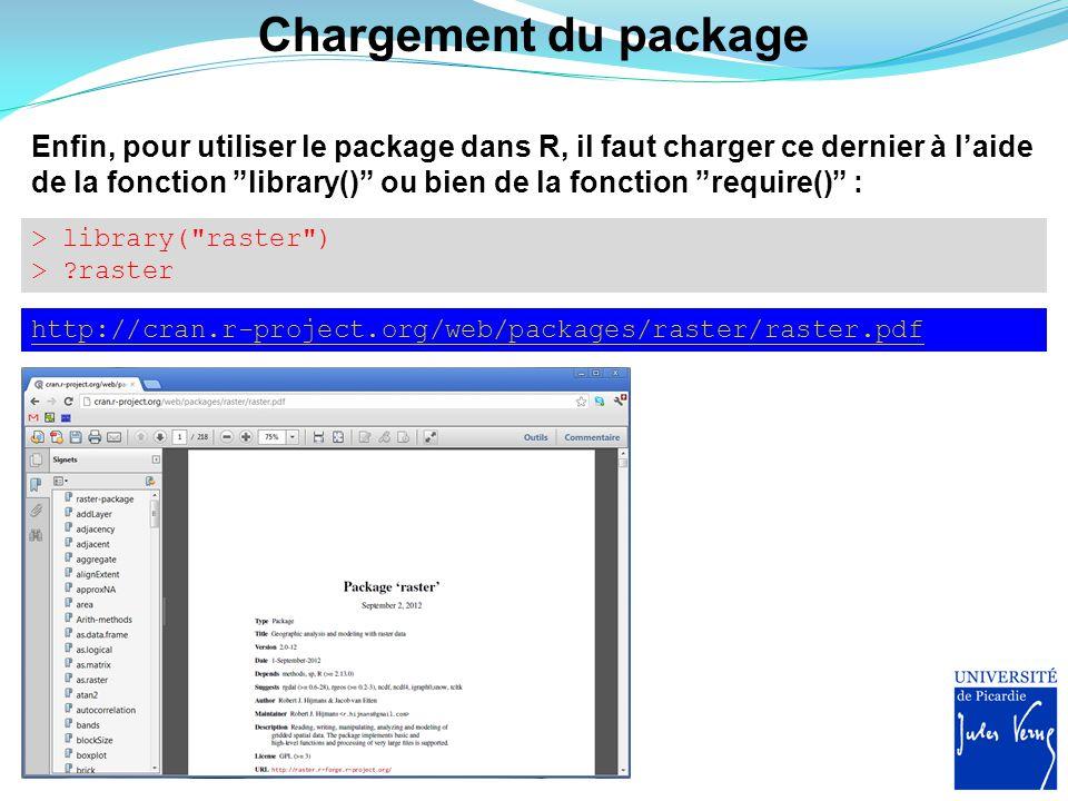 """Chargement du package Enfin, pour utiliser le package dans R, il faut charger ce dernier à l'aide de la fonction """"library()"""" ou bien de la fonction """"r"""