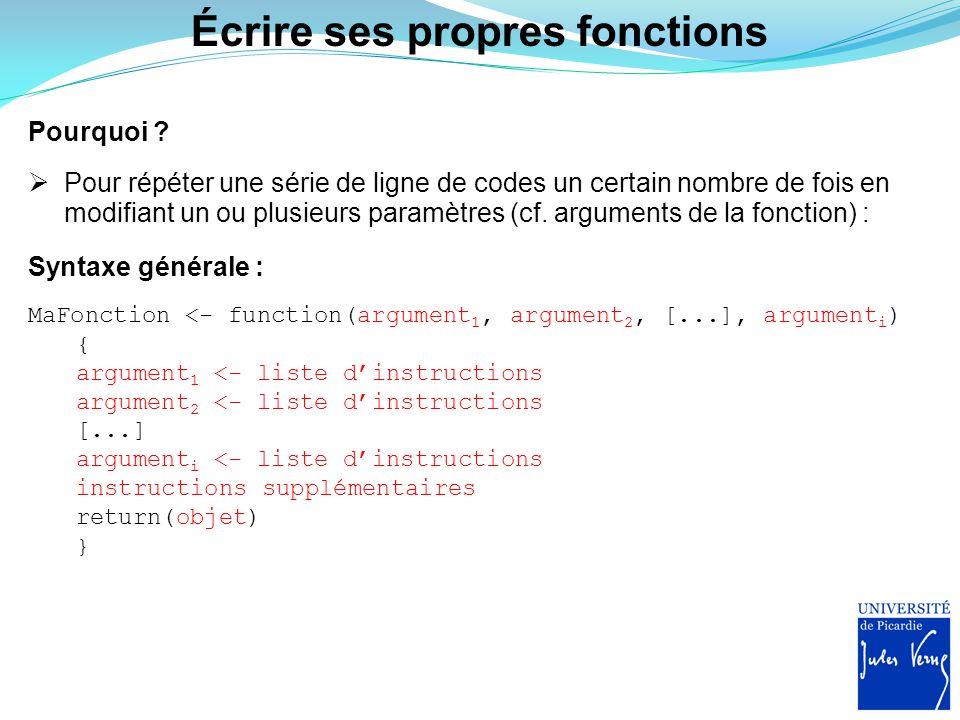 Écrire ses propres fonctions Pourquoi ?  Pour répéter une série de ligne de codes un certain nombre de fois en modifiant un ou plusieurs paramètres (