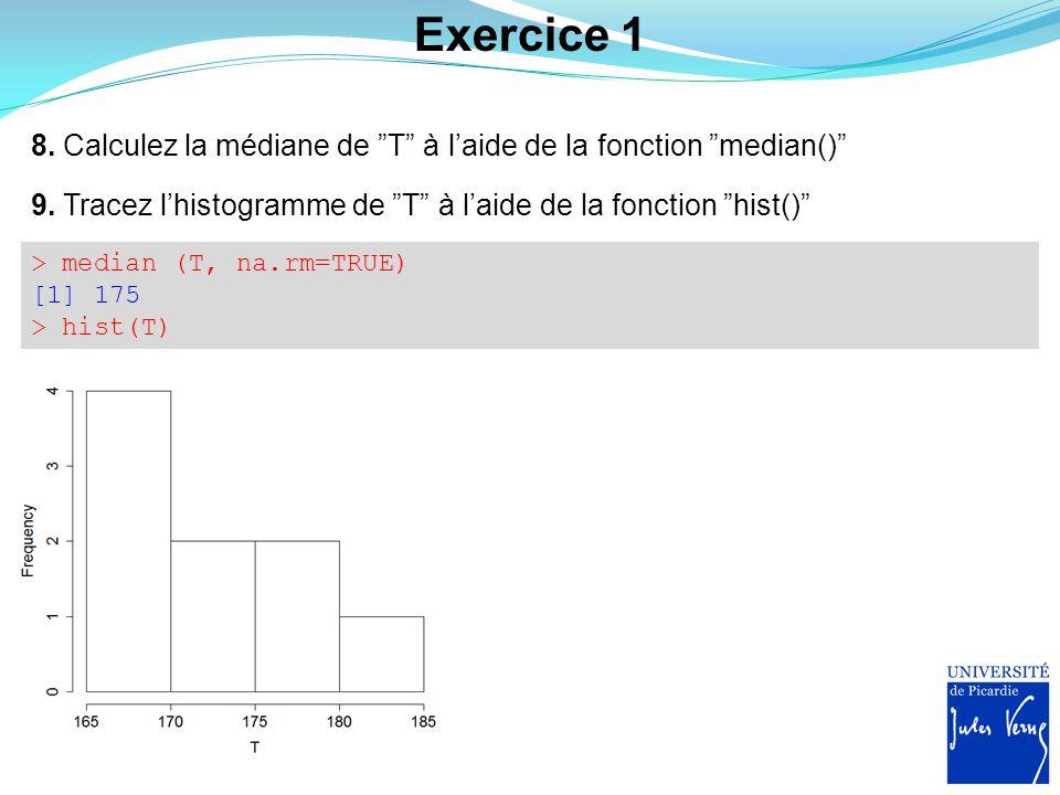 """Exercice 1 8. Calculez la médiane de """"T"""" à l'aide de la fonction """"median()"""" 9. Tracez l'histogramme de """"T"""" à l'aide de la fonction """"hist()"""" > median ("""