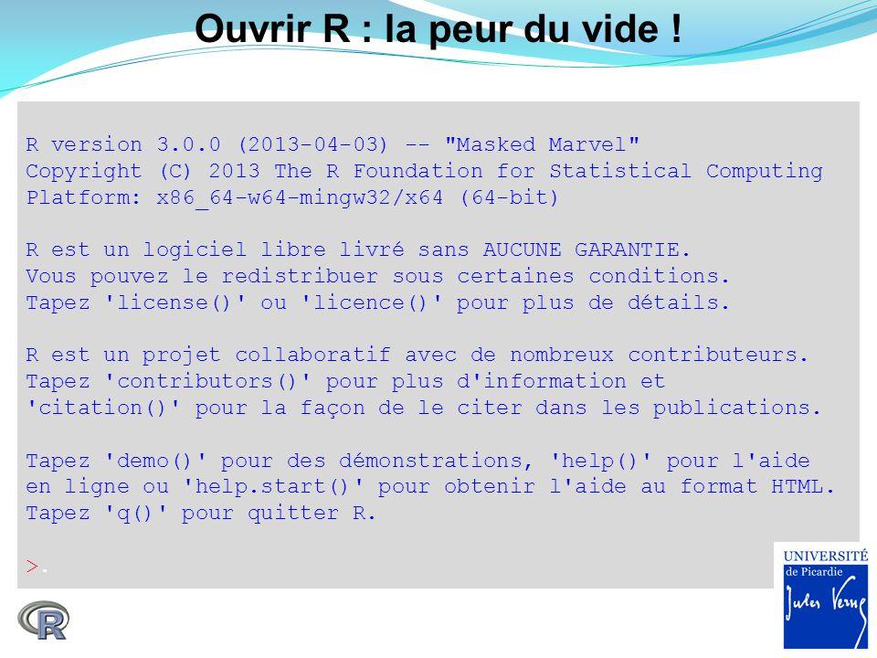 Ouvrir R : la peur du vide ! R version 3.0.0 (2013-04-03) --