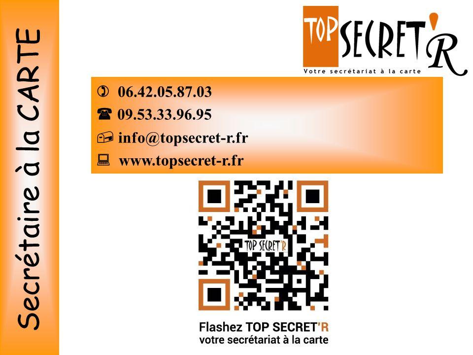  06.42.05.87.03  09.53.33.96.95  info@topsecret-r.fr  www.topsecret-r.fr