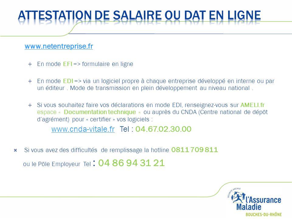 www.netentreprise.fr  En mode EFI => formulaire en ligne  En mode EDI => via un logiciel propre à chaque entreprise développé en interne ou par un é