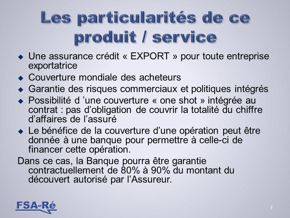8 Assureur Acheteur (Client) Eur., U.S.A., Chine… Assureur Banque Exportateur (assuré)