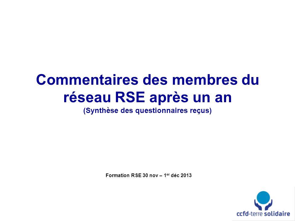 Commentaires des membres du réseau RSE après un an (Synthèse des questionnaires reçus) Formation RSE 30 nov – 1 er déc 2013