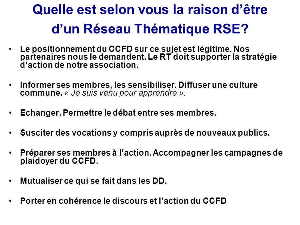 Quelle est selon vous la raison d'être d'un Réseau Thématique RSE? Le positionnement du CCFD sur ce sujet est légitime. Nos partenaires nous le demand