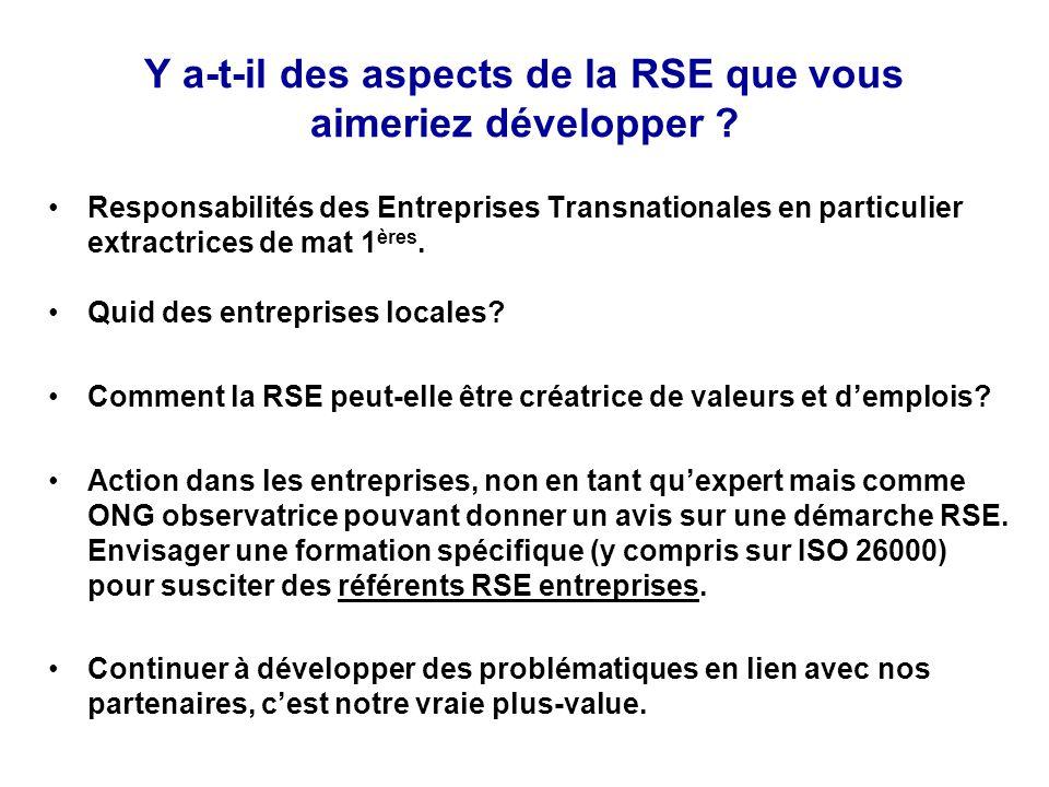 Y a-t-il des aspects de la RSE que vous aimeriez développer ? Responsabilités des Entreprises Transnationales en particulier extractrices de mat 1 ère