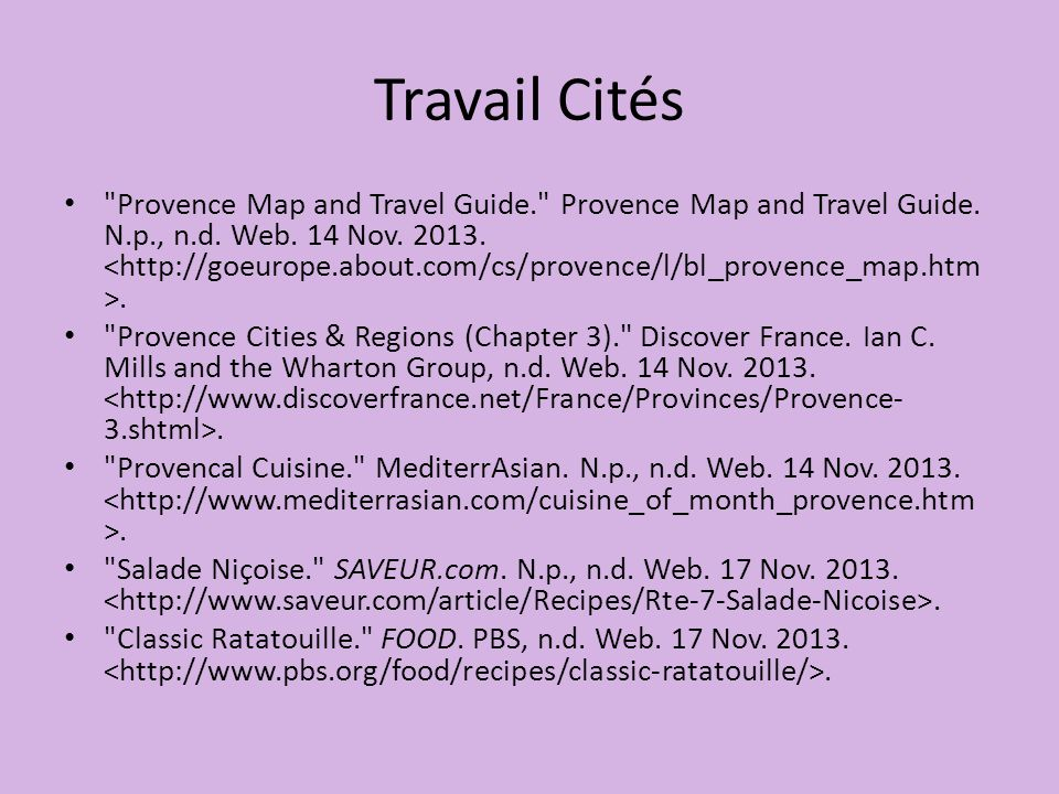 Travail Cités Provence Map and Travel Guide. Provence Map and Travel Guide.