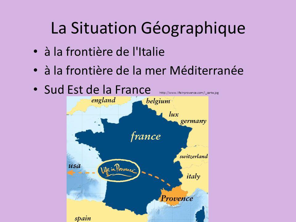 La Situation Géographique à la frontière de l Italie à la frontière de la mer Méditerranée Sud Est de la France http://www.lifeinprovence.com/i_carte.jpg