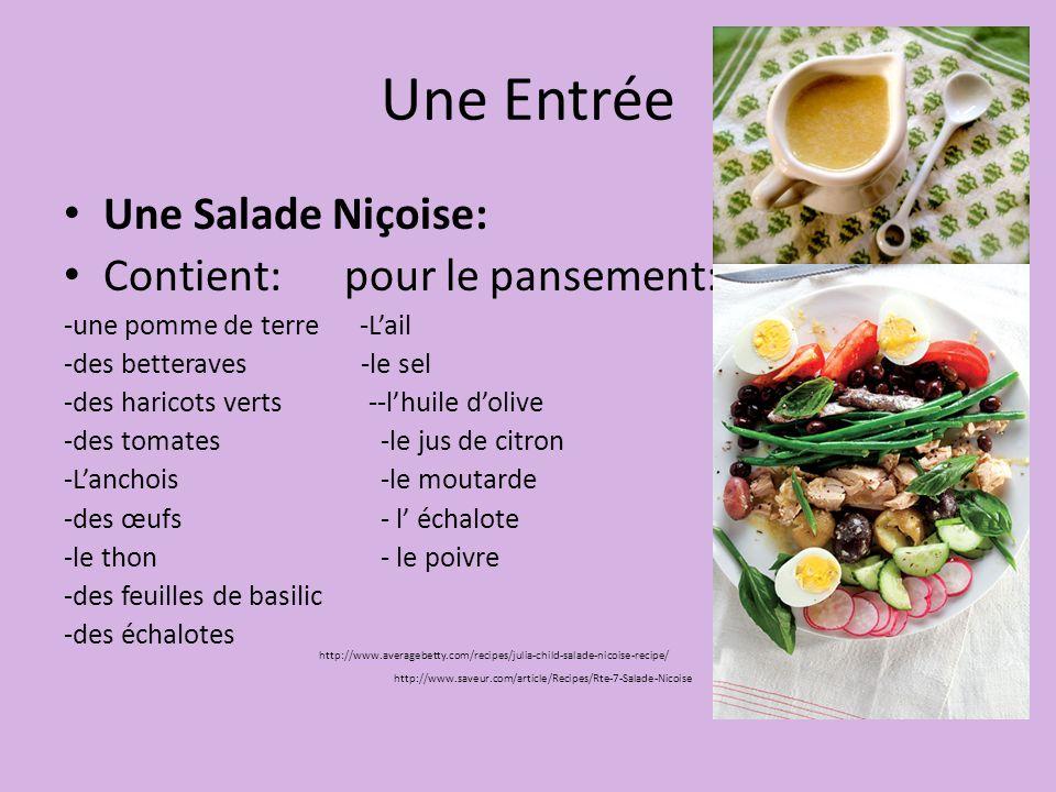Une Entrée Une Salade Niçoise: Contient: pour le pansement: -une pomme de terre -L'ail -des betteraves -le sel -des haricots verts --l'huile d'olive -des tomates-le jus de citron -L'anchois-le moutarde -des œufs - l' échalote -le thon- le poivre -des feuilles de basilic -des échalotes http://www.saveur.com/article/Recipes/Rte-7-Salade-Nicoise http://www.averagebetty.com/recipes/julia-child-salade-nicoise-recipe/