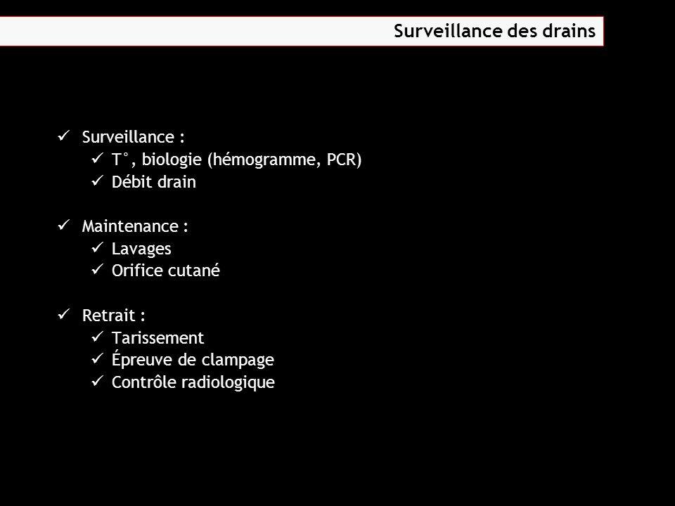 Surveillance : T°, biologie (hémogramme, PCR) Débit drain Maintenance : Lavages Orifice cutané Retrait : Tarissement Épreuve de clampage Contrôle radi