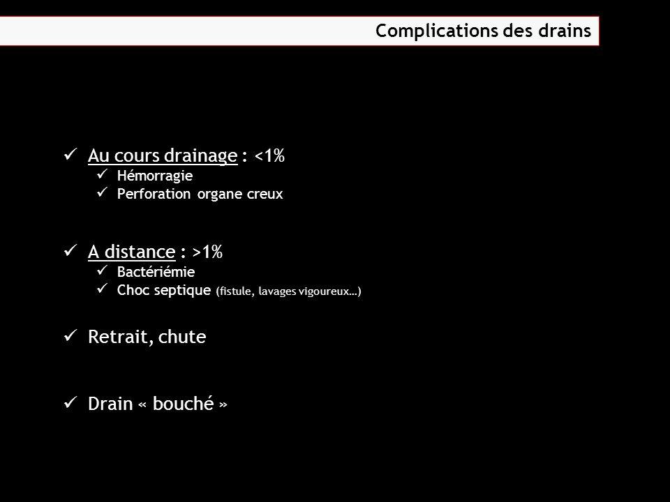 Au cours drainage : <1% Hémorragie Perforation organe creux A distance : >1% Bactériémie Choc septique (fistule, lavages vigoureux…) Retrait, chute Dr