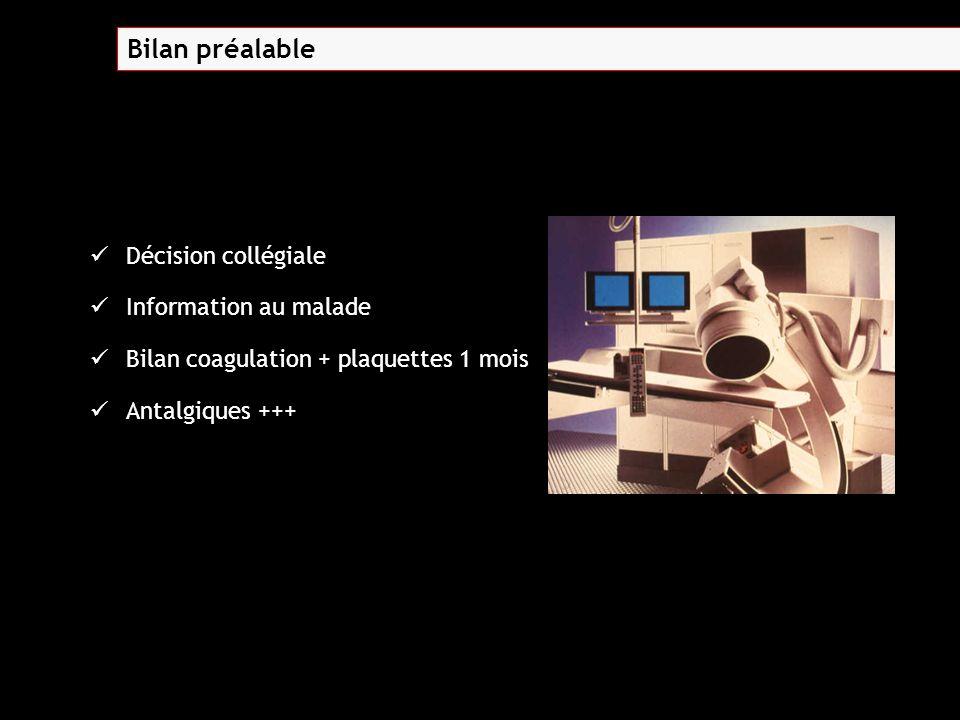 Décision collégiale Information au malade Bilan coagulation + plaquettes 1 mois Antalgiques +++ Bilan préalable