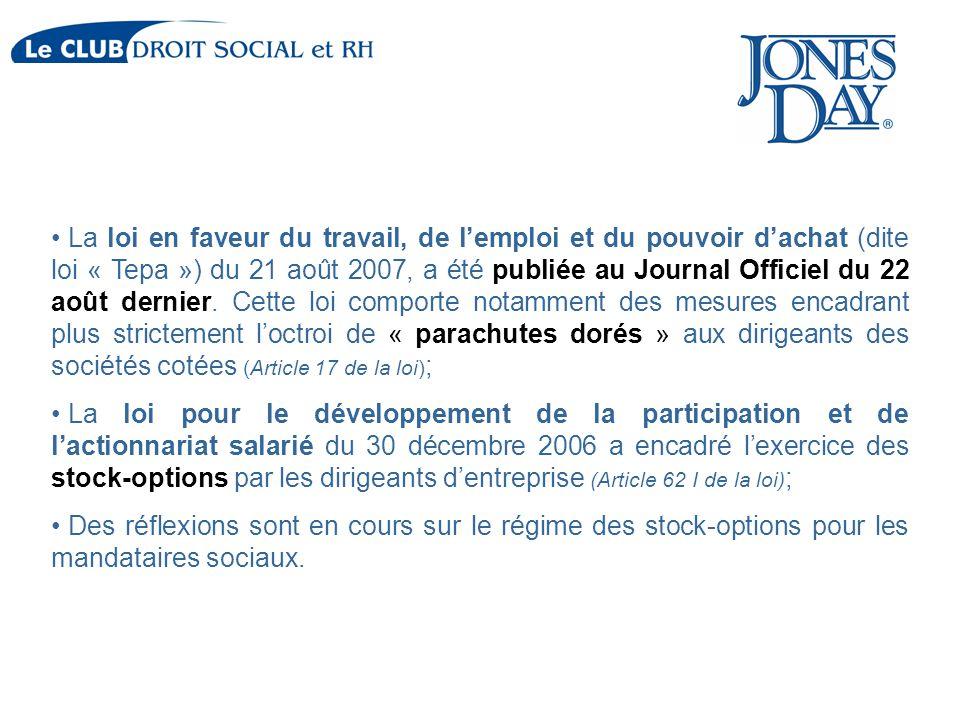 La loi en faveur du travail, de l'emploi et du pouvoir d'achat (dite loi « Tepa ») du 21 août 2007, a été publiée au Journal Officiel du 22 août derni