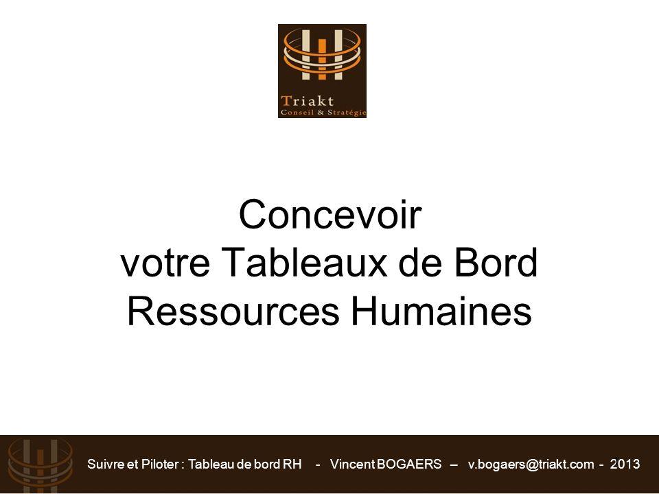 Suivre et Piloter : Tableau de bord RH - Vincent BOGAERS – v.bogaers@triakt.com - 2013 1 Concevoir votre Tableaux de Bord Ressources Humaines