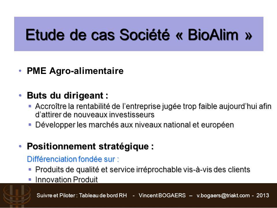 Suivre et Piloter : Tableau de bord RH - Vincent BOGAERS – v.bogaers@triakt.com - 2013 Etude de cas Société « BioAlim » PME Agro-alimentaire Buts du d