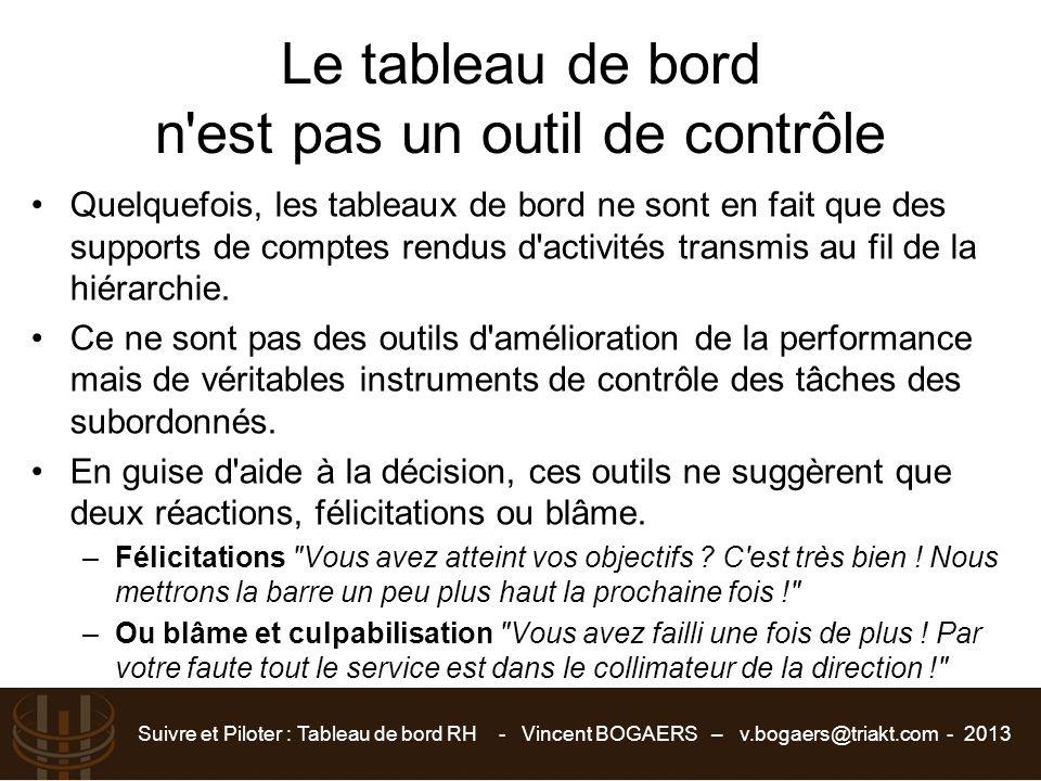 Suivre et Piloter : Tableau de bord RH - Vincent BOGAERS – v.bogaers@triakt.com - 2013 Le tableau de bord n'est pas un outil de contrôle Quelquefois,