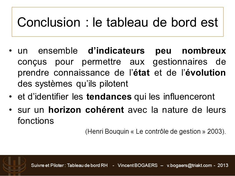 Suivre et Piloter : Tableau de bord RH - Vincent BOGAERS – v.bogaers@triakt.com - 2013 Conclusion : le tableau de bord est un ensemble d'indicateurs p
