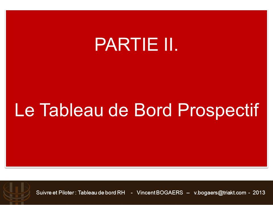 Suivre et Piloter : Tableau de bord RH - Vincent BOGAERS – v.bogaers@triakt.com - 2013 PARTIE II. Le Tableau de Bord Prospectif PARTIE II. Le Tableau
