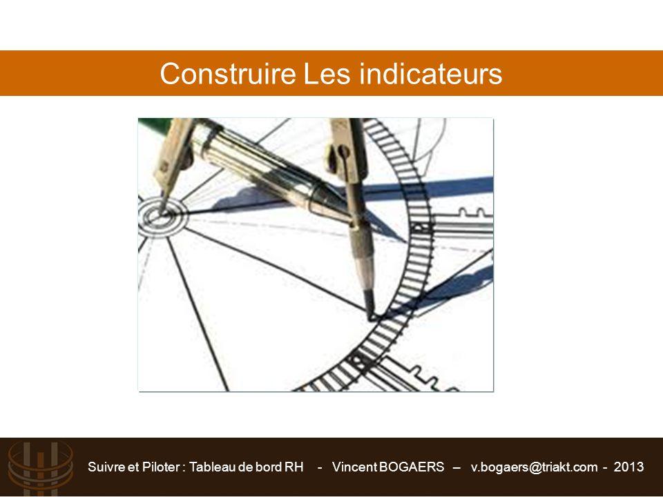 Suivre et Piloter : Tableau de bord RH - Vincent BOGAERS – v.bogaers@triakt.com - 2013 Construire Les indicateurs