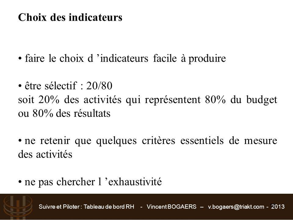 Suivre et Piloter : Tableau de bord RH - Vincent BOGAERS – v.bogaers@triakt.com - 2013 50 Choix des indicateurs faire le choix d 'indicateurs facile à