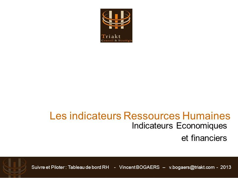 Suivre et Piloter : Tableau de bord RH - Vincent BOGAERS – v.bogaers@triakt.com - 2013 Indicateurs Economiques et financiers Les indicateurs Ressource