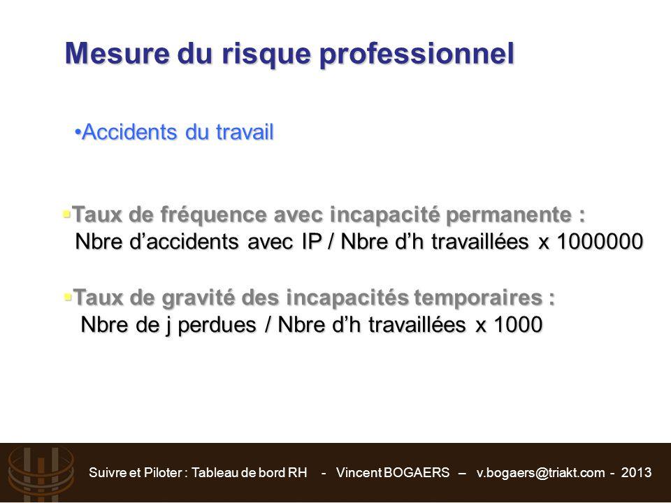 Suivre et Piloter : Tableau de bord RH - Vincent BOGAERS – v.bogaers@triakt.com - 2013 Mesure du risque professionnel Accidents du travailAccidents du
