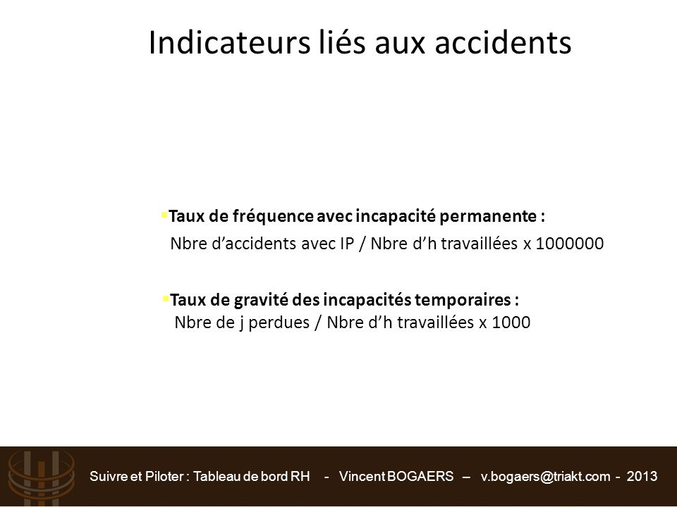 Suivre et Piloter : Tableau de bord RH - Vincent BOGAERS – v.bogaers@triakt.com - 2013  Taux de fréquence avec incapacité permanente : Nbre d'acciden