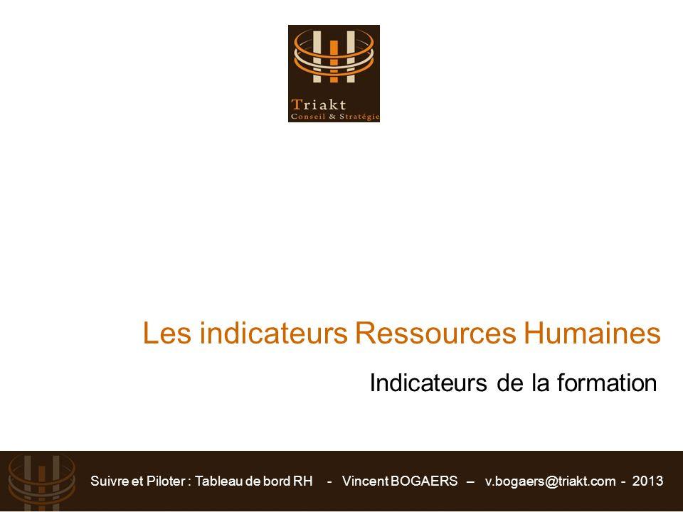 Suivre et Piloter : Tableau de bord RH - Vincent BOGAERS – v.bogaers@triakt.com - 2013 Les indicateurs Ressources Humaines Indicateurs de la formation