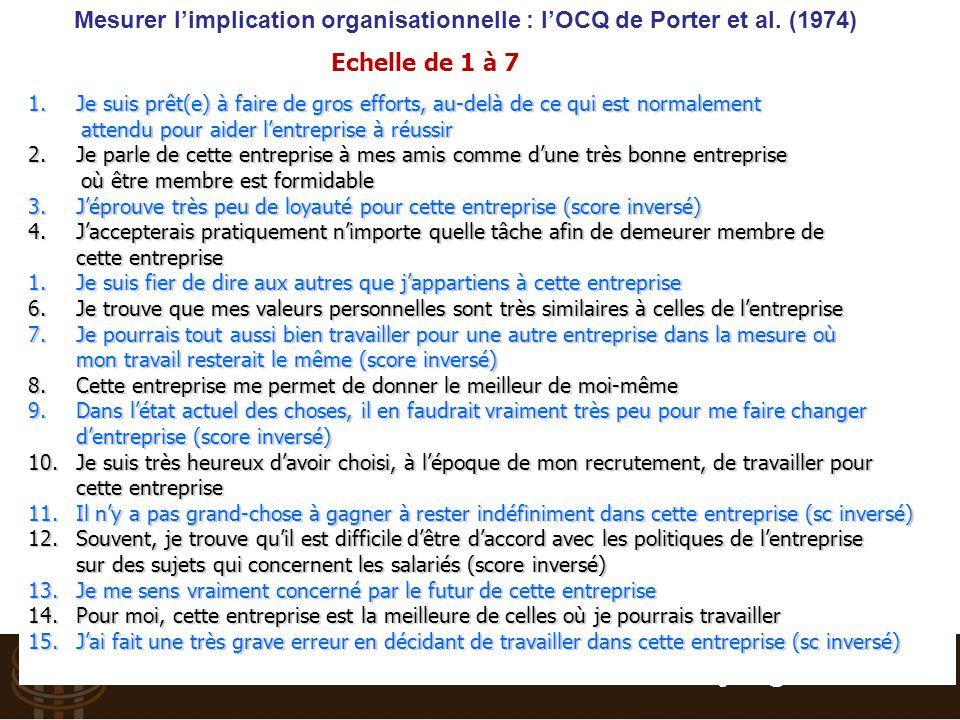 Suivre et Piloter : Tableau de bord RH - Vincent BOGAERS – v.bogaers@triakt.com - 2013 Mesurer l'implication organisationnelle : l'OCQ de Porter et al