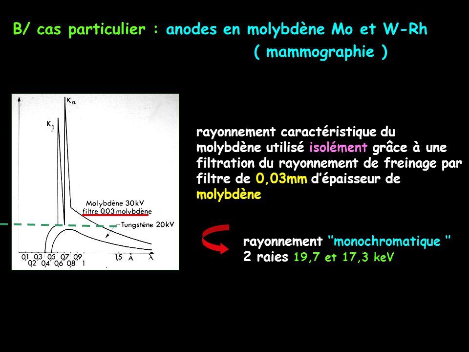 B/ cas particulier : anodes en molybdène Mo et W-Rh ( mammographie ) rayonnement caractéristique du molybdène utilisé isolément grâce à une filtration