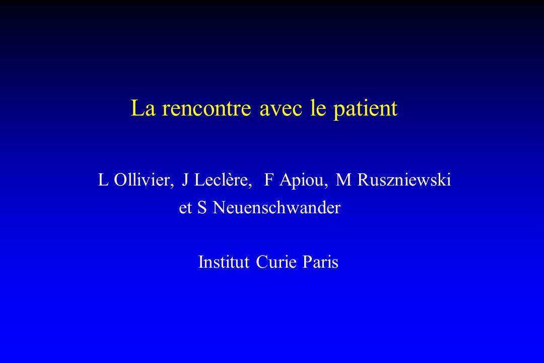 La rencontre avec le patient L Ollivier, J Leclère, F Apiou, M Ruszniewski et S Neuenschwander Institut Curie Paris