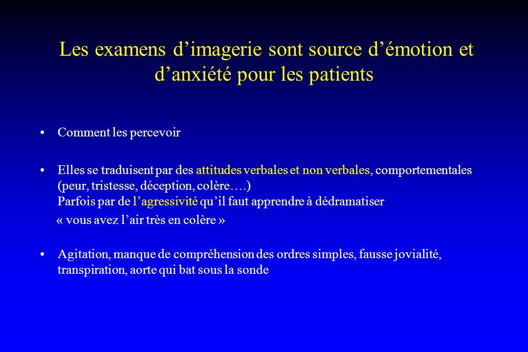 Les examens d'imagerie sont source d'émotion et d'anxiété pour les patients Comment les percevoir Elles se traduisent par des attitudes verbales et no