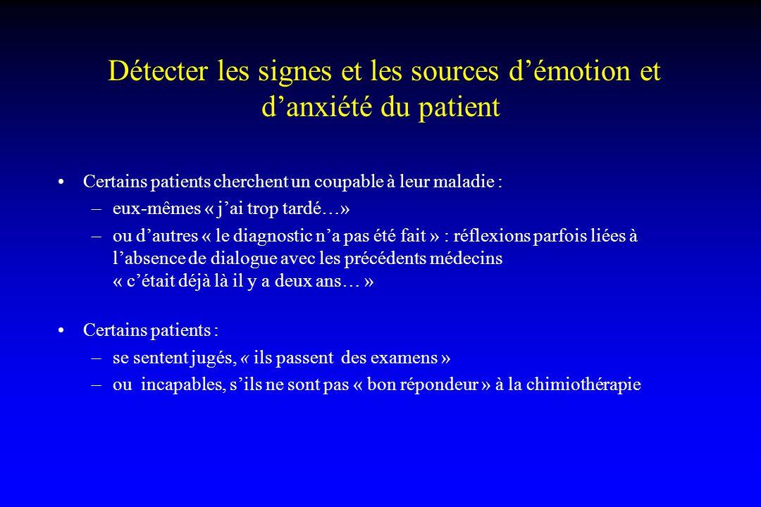 Détecter les signes et les sources d'émotion et d'anxiété du patient Certains patients cherchent un coupable à leur maladie : –eux-mêmes « j'ai trop t