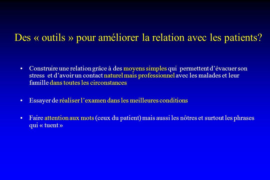 Des « outils » pour améliorer la relation avec les patients? Construire une relation grâce à des moyens simples qui permettent d'évacuer son stress et