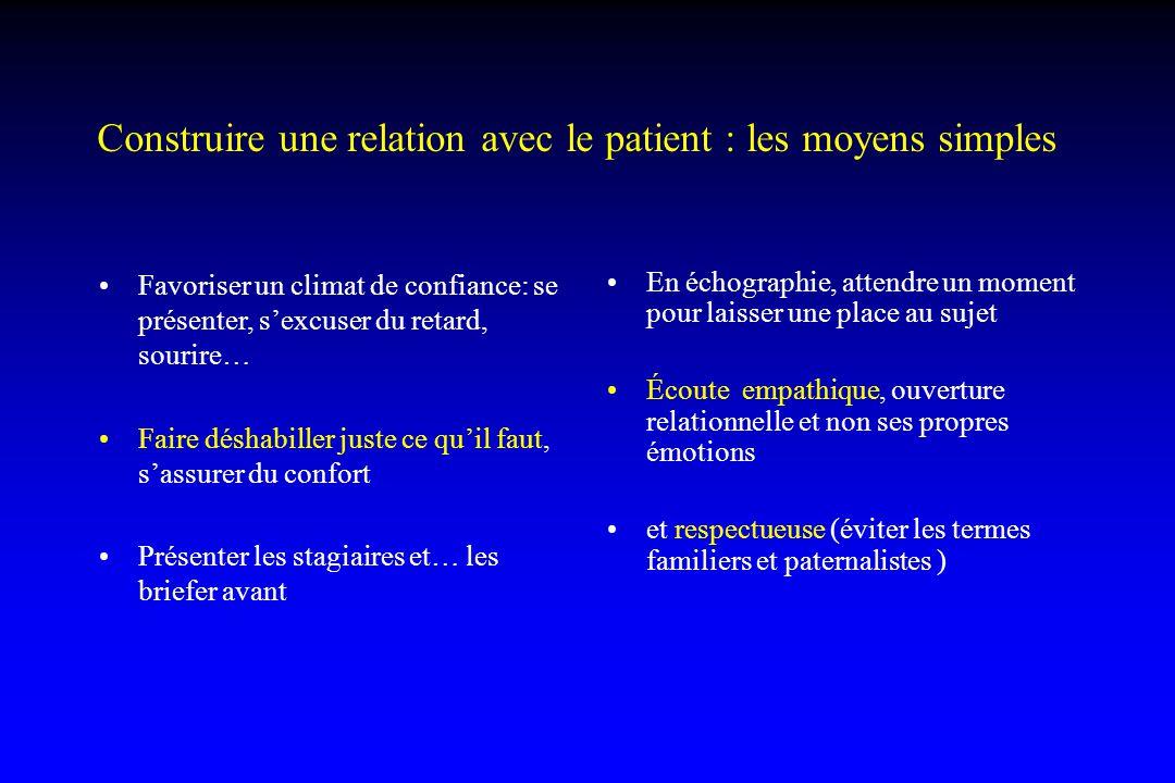 Construire une relation avec le patient : les moyens simples Favoriser un climat de confiance: se présenter, s'excuser du retard, sourire… Faire désha
