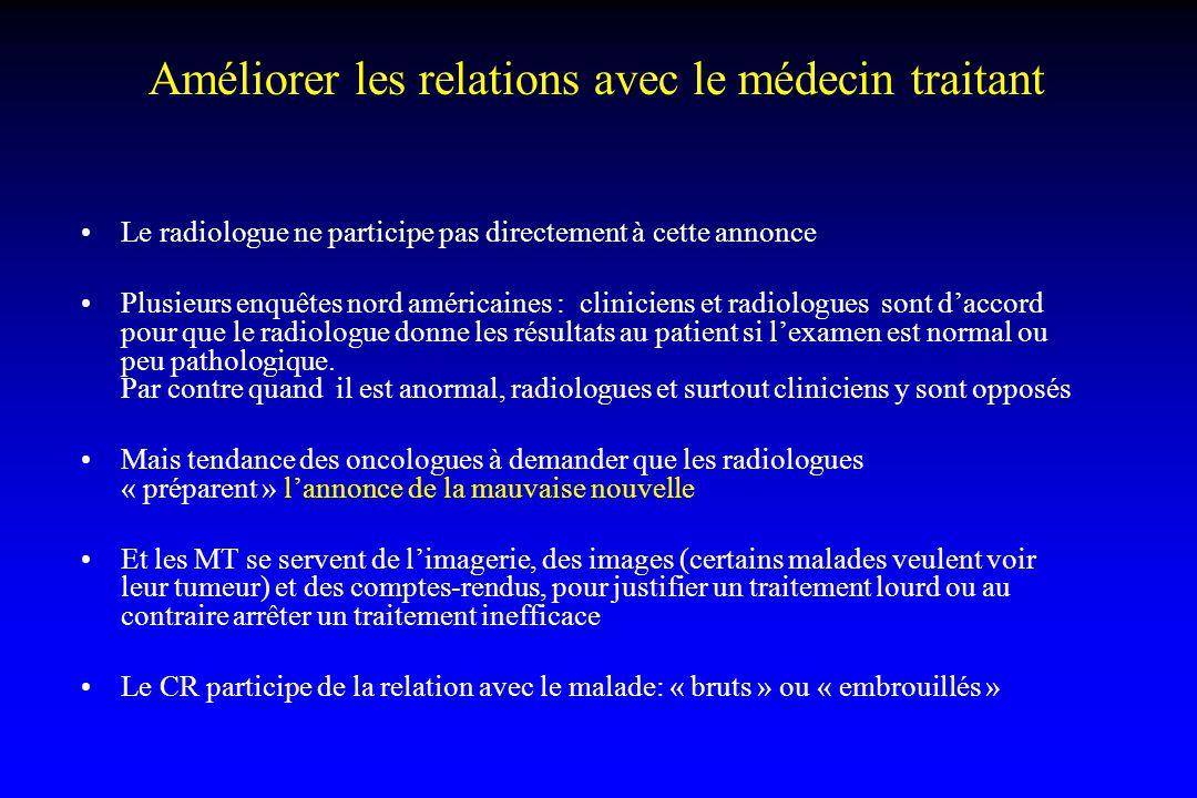 Améliorer les relations avec le médecin traitant Le radiologue ne participe pas directement à cette annonce Plusieurs enquêtes nord américaines : clin