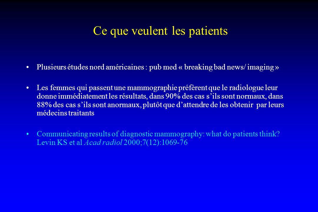 Ce que veulent les patients Plusieurs études nord américaines : pub med « breaking bad news/ imaging » Les femmes qui passent une mammographie préfère