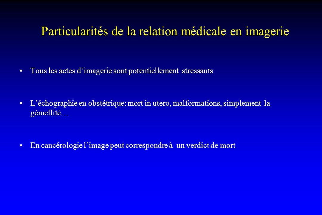 Particularités de la relation médicale en imagerie Tous les actes d'imagerie sont potentiellement stressants L'échographie en obstétrique: mort in ute