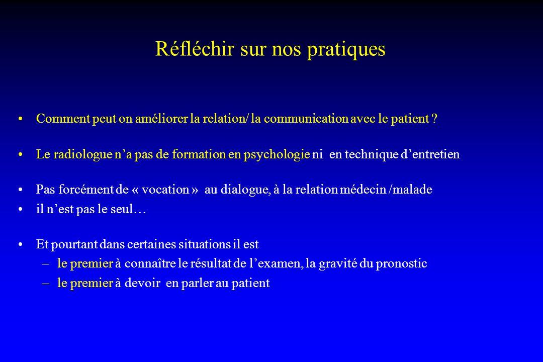 Réfléchir sur nos pratiques Comment peut on améliorer la relation/ la communication avec le patient ? Le radiologue n'a pas de formation en psychologi