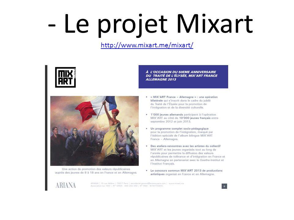 - Le projet Mixart http://www.mixart.me/mixart/ http://www.mixart.me/mixart/