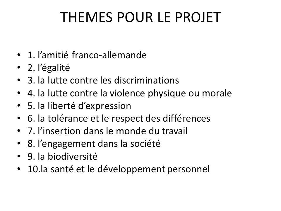 THEMES POUR LE PROJET 1. l'amitié franco-allemande 2. l'égalité 3. la lutte contre les discriminations 4. la lutte contre la violence physique ou mora