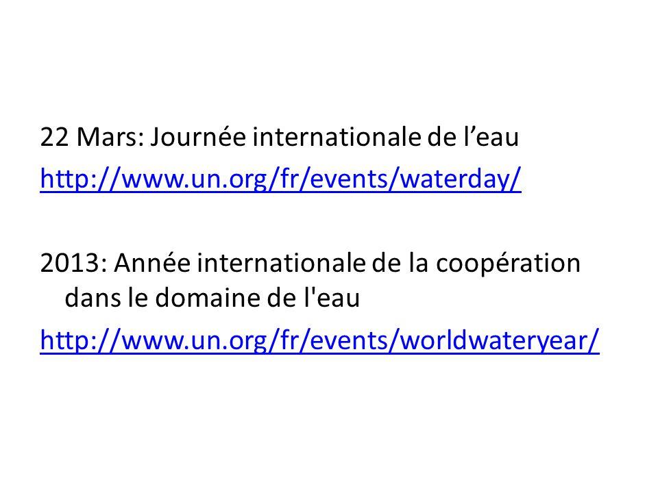 22 Mars: Journée internationale de l'eau http://www.un.org/fr/events/waterday/ 2013: Année internationale de la coopération dans le domaine de l'eau h